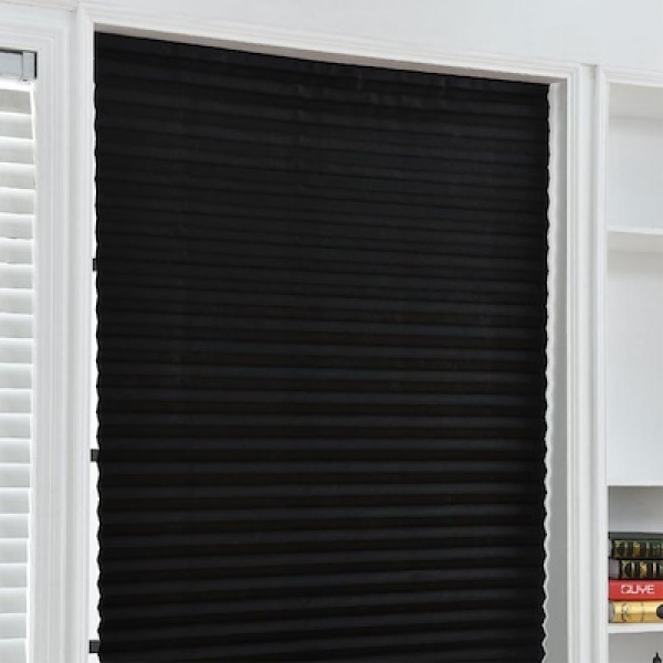 Privacy Blackout Window Curtain Shade Pleated Blind Bathroom Kitchen Blinds Curtain Self Adhesive