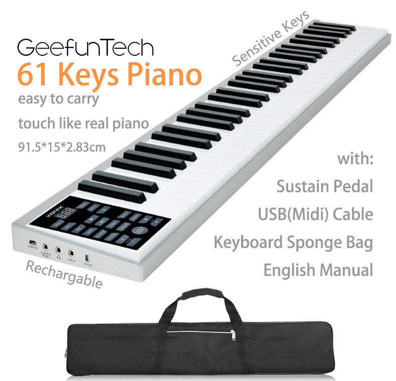 61 Keys Digital Piano Portable Traveler Electronic Rechargeable Midi Keyboard With Bluetooth.