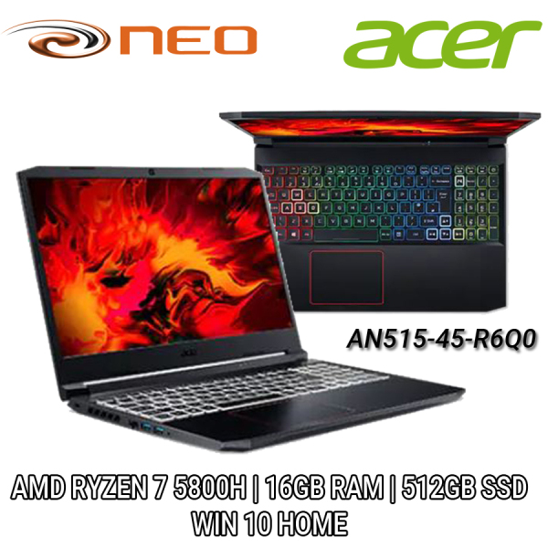 Acer Nitro AN515-45-R6Q0 (Black) QHD 15.6 | AMD RYZEN 7 | 16GB RAM | 512GB SSD | WIN 10 HOME | 2 Years Local Singapore Carry-in Warranty