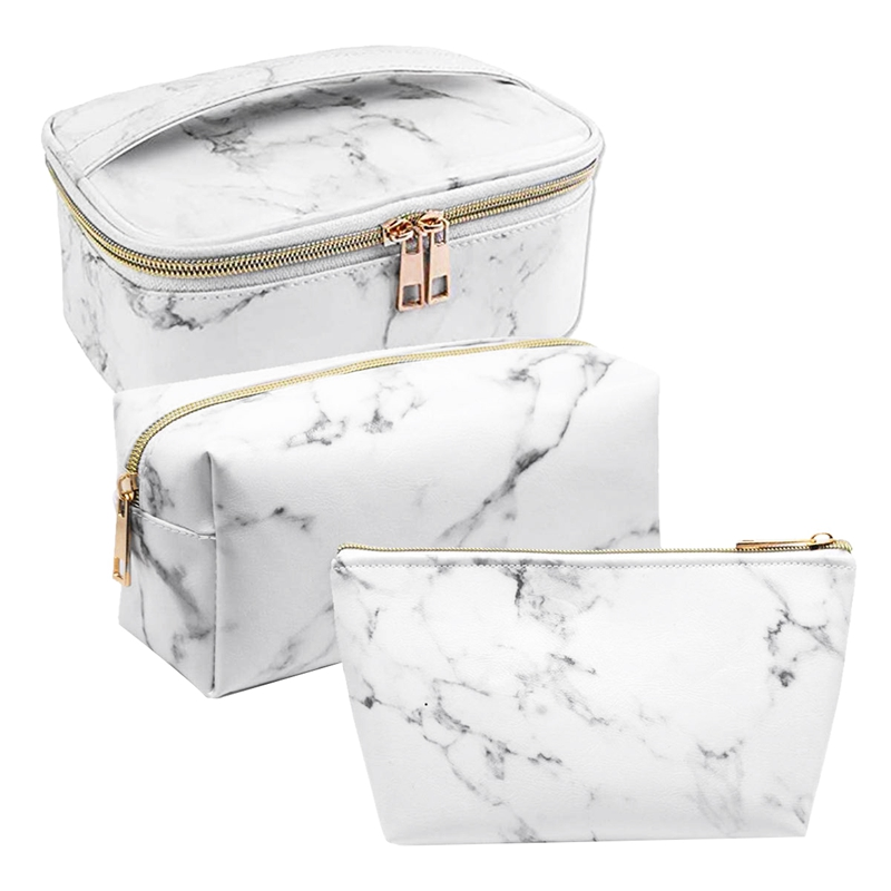 3 Pack Marble Makeup Bag Set Portable Toiletry Pouch Bag Waterproof Organizer Case Storage Makeup Brushes Bag For Women Girls.