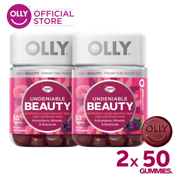 Buy [Bundle of 2] OLLY Undeniable Beauty Gummy Vitamins With Antioxidants, Minerals, Botanicals, For Hair, Skin, Chewable Supplement, 25 Day Supply (50 Count) Singapore