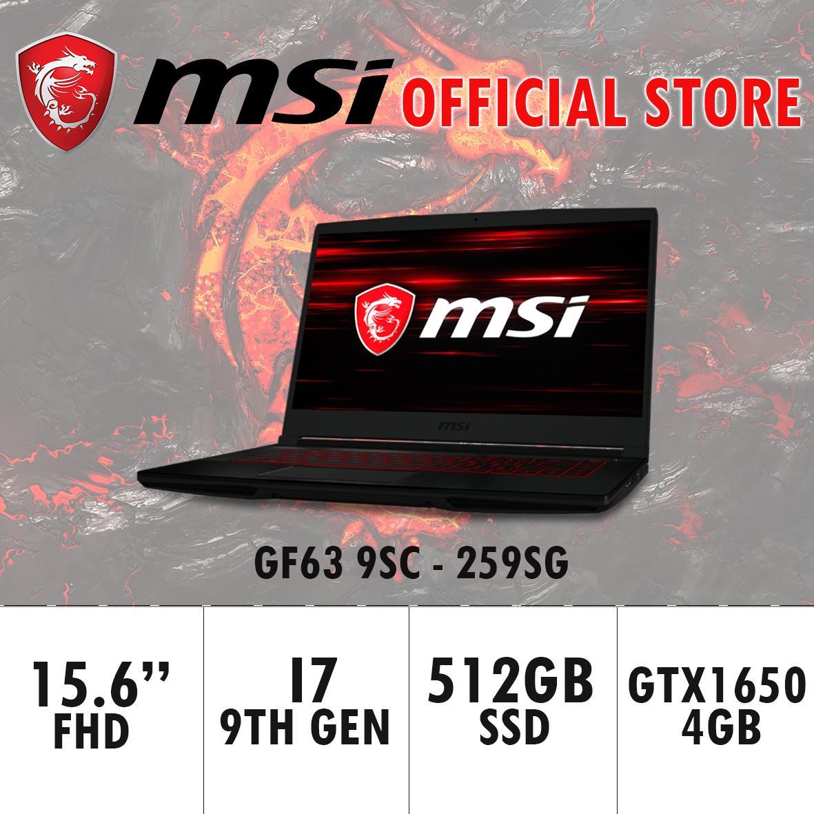 MSI GF63 GTX1650 THIN 9SC - 259SG (i7-9750H / 8GB / 512GB / WIN 10) 15.6 FHD Gaming Laptop