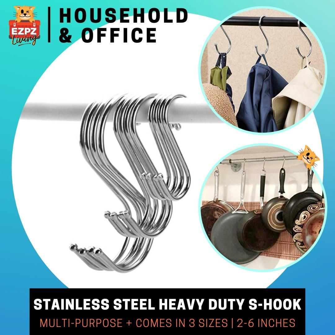 KAMLY Premium Stainless Steel S Shaped Hooks Hanging Organising - Small, Medium, Large