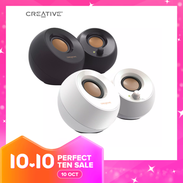 Creative Pebble 2.0 USB-Powered Desktop Speakers with Far-Field Drivers and Passive Radiators for PCs and Laptops