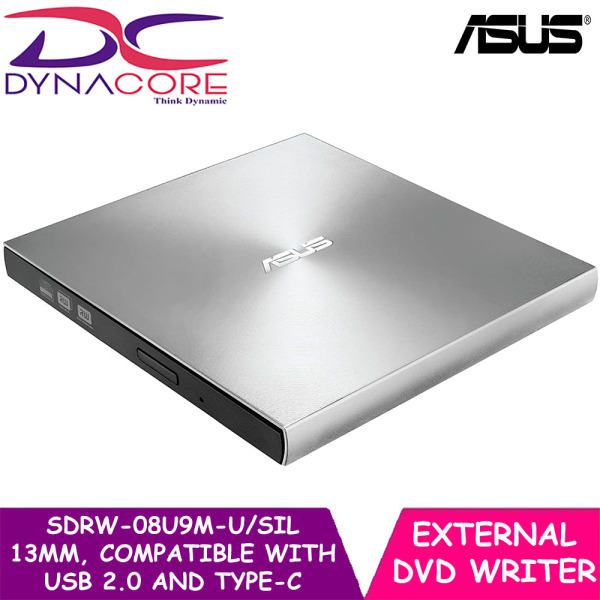DYNACORE - ASUS SDRW-08U9M-U/SIL 13mm External DVD Writer, Compatible with USB 2.0 and Type-C for both Mac/PC, Silver, 13mm