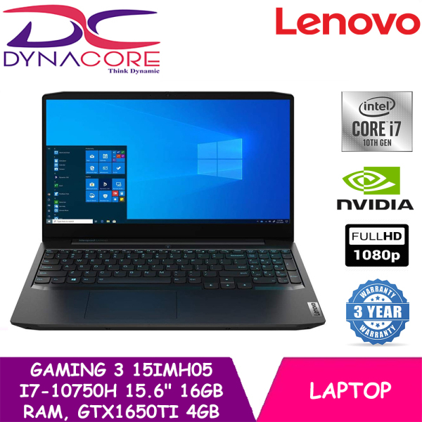 【DELIVERY IN 24 HOURS】 DYNACORE - Lenovo Gaming 3 15IMH05 81Y40076SB Gaming Laptop 15.6 FHD | i7-10750H | 16GB RAM | 1TB HDD + 256GB SSD | GTX1650TI 4GB | WIN 10