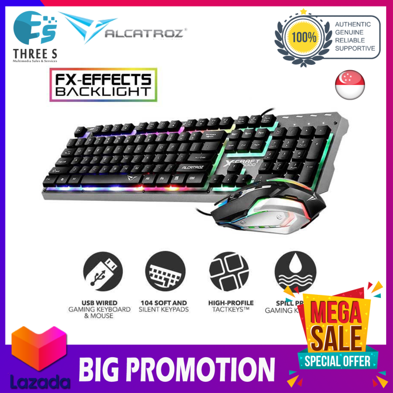 Alcatroz X-Craft XC3000 Spill Proof Gaming Keyboard and Gaming Mouse with 7 Colour FX Light Effect Singapore