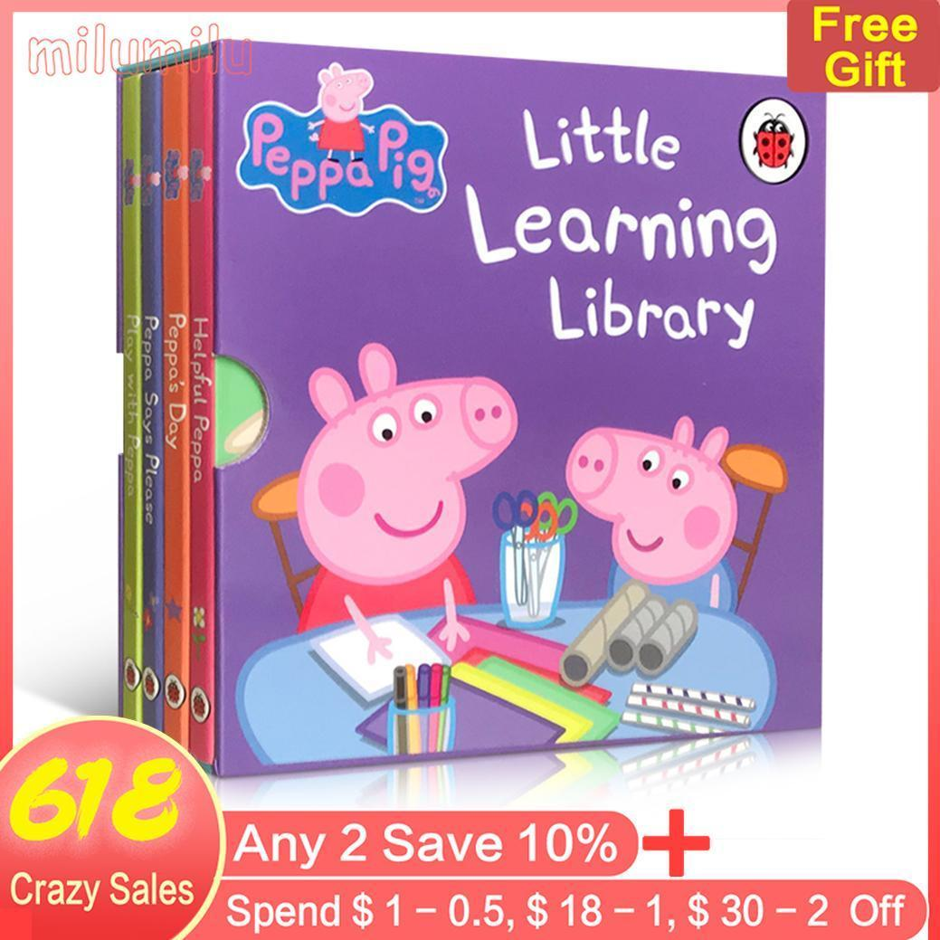 【 Free Audio 】4Pcs Peppa Pig Little Learning Library Learn To Speak Politely and Make Friends Cardboard Book Bedtime Picture Book for Childrens Early Education