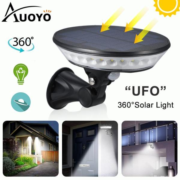 Auoyo 29 LED Solar Light 360° Solar Security Light Solar Motion Sensor Light with Adjustable Solar Panel UFO Solar Wall Light IP65 Waterproof LED Spotlight for Yard Garden Patio