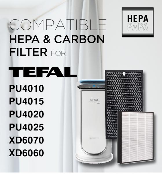 TEFAL PU4010/PU4015/PU4020/PU4025/PU4085 Filter Models XD6070 & XD6060 Compatible Replacement HEPA & Carbon Filter [Free Alcohol Swab] [SG Seller] [7 Days Warranty] [ HEPAPAPA] Singapore