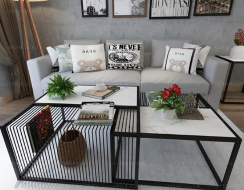 MACKENZIE Minimalist Marble Metal Frame Coffee Table
