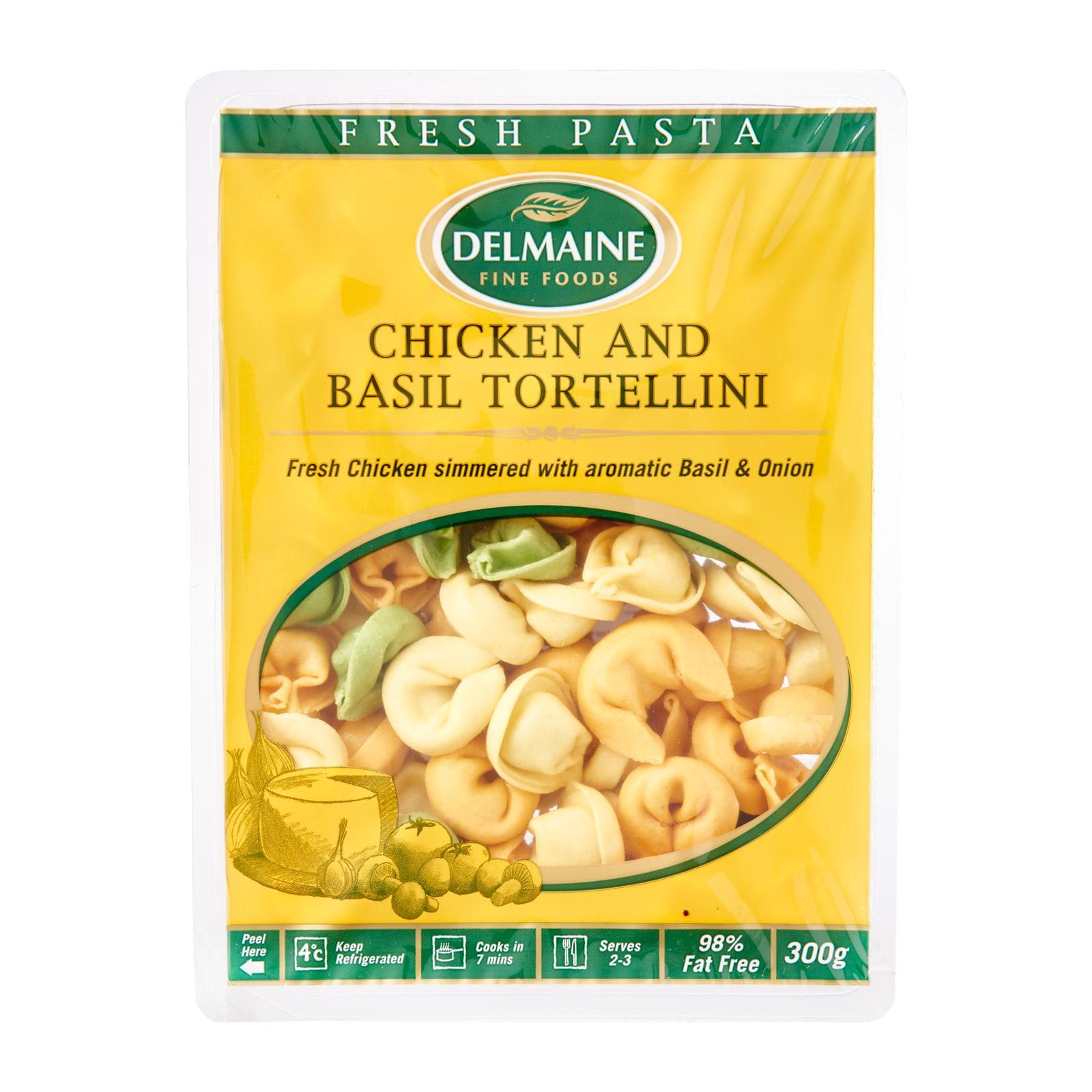 Delmaine Chicken And Basil Tri-Colour Tortellini Filled Pasta By Redmart.