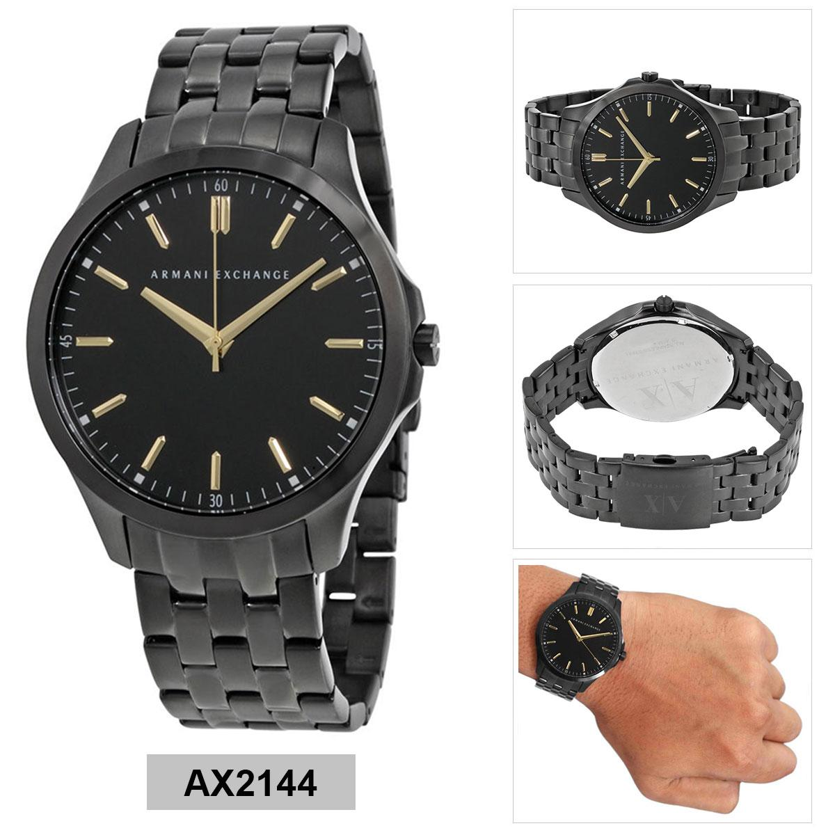 3c67c7abbfb6 Armani Exchange Hampton Black Stainless-Steel Case Stainless-Steel Bracelet  Mens AX2144
