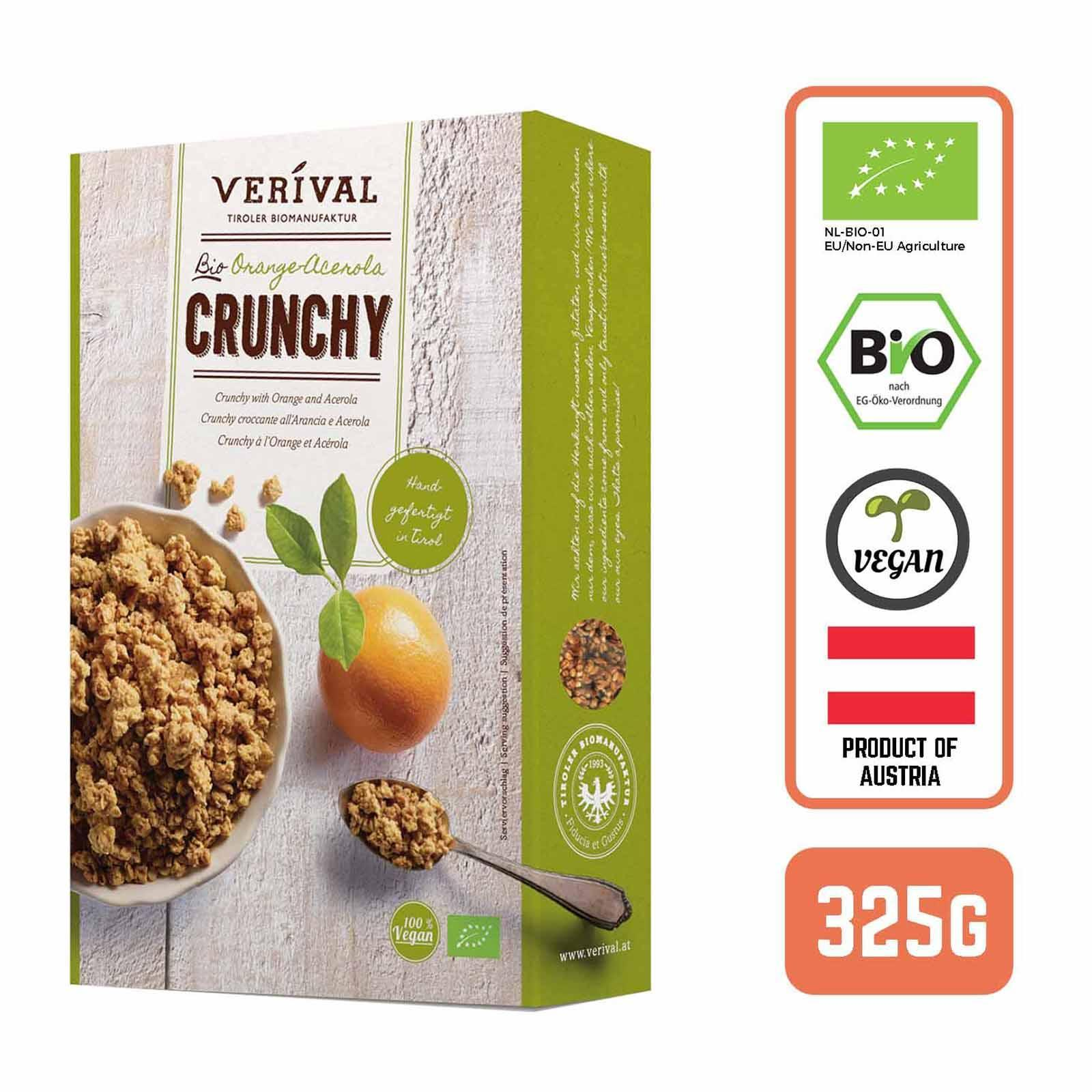 Verival Organic Austrian Crunchy Granola Muesli with Orange and Acerola