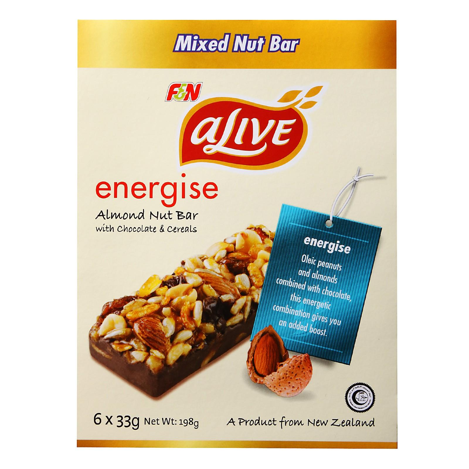 F&N Alive Energise Almond Nut Bar with Chocolate & Cereals