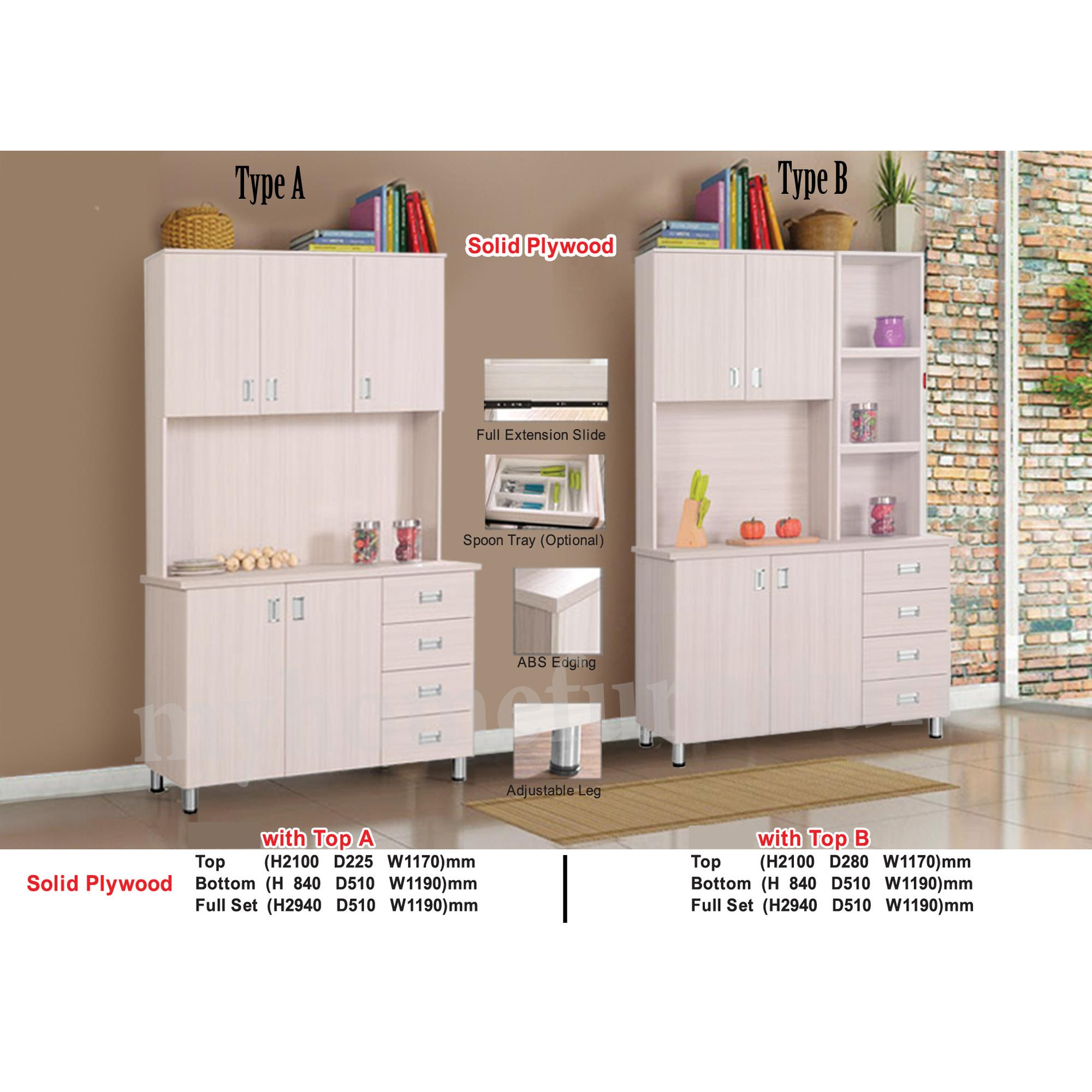 Albe 4ft Kitchen Cabinet 100% Solid Plywood (Free Installation and Delivery)