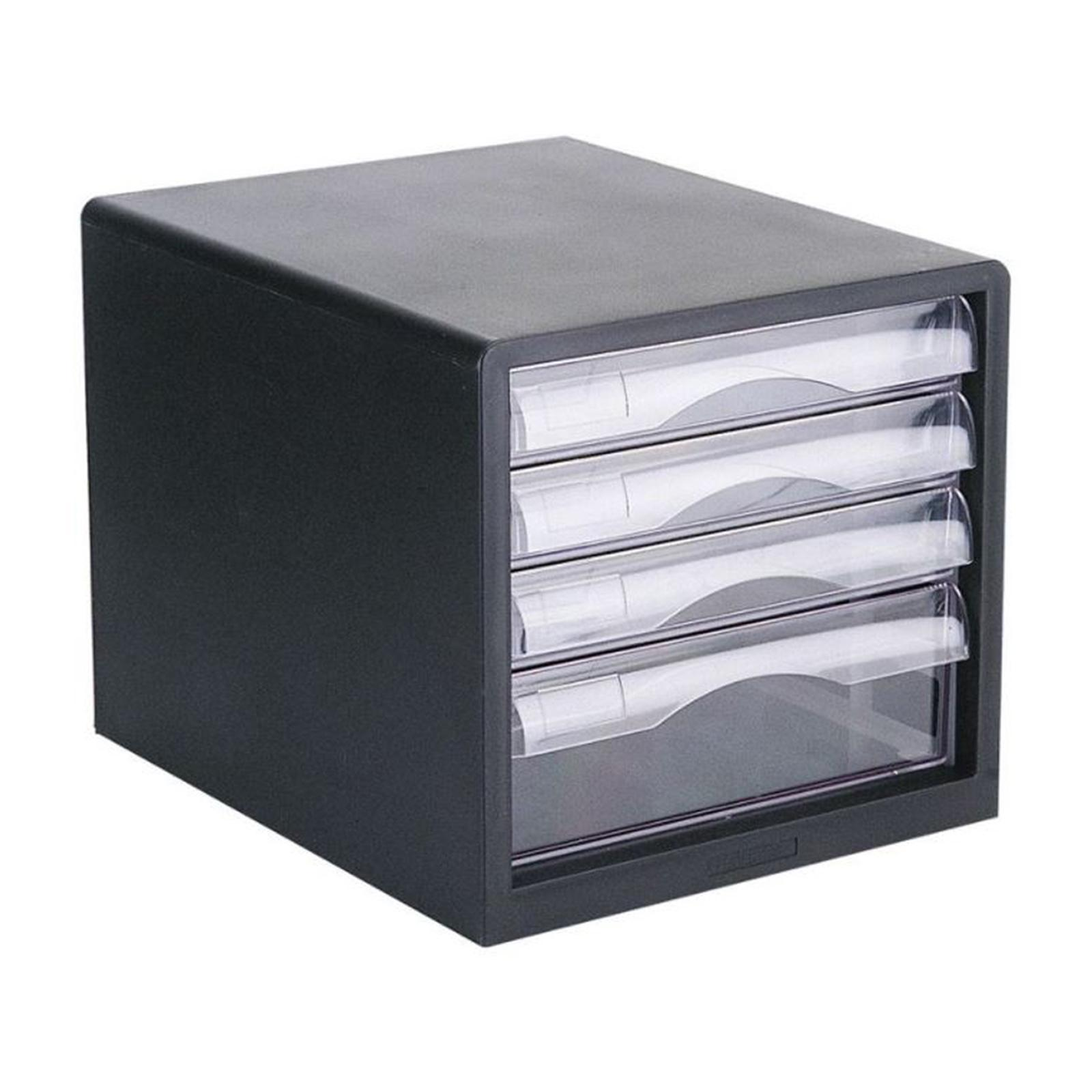 Deli 4 Drawers Letter Case E9774 - Black