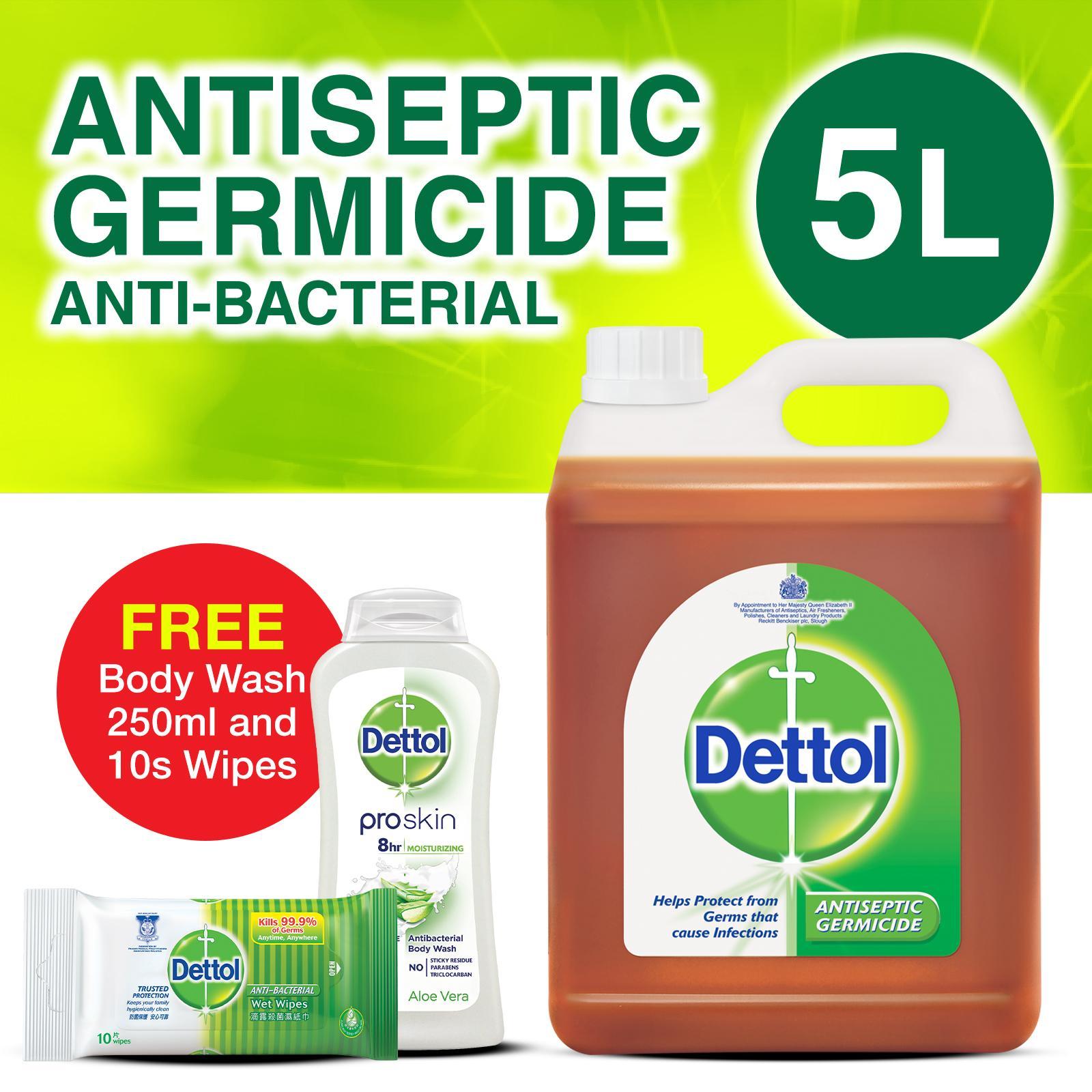 Dettol Antiseptic Liquid 5l + Free Pro-Skin Aloe Vera Shower Gel 250ml + Free Wet Wipes (10s) By Dettol.