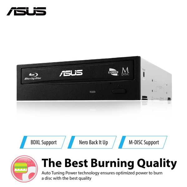 ASUS BW-16D1HT - ultra-fast 16X Blu-ray burner with M-DISC support for lifetime data backup