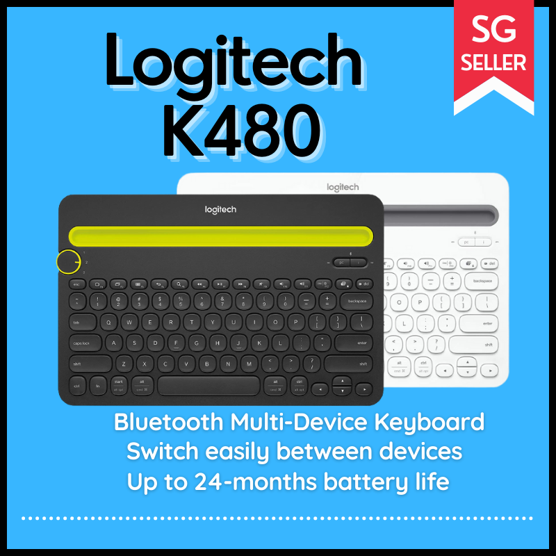 Logitech Bluetooth K480 Multi-Device Keyboard Black and White Singapore