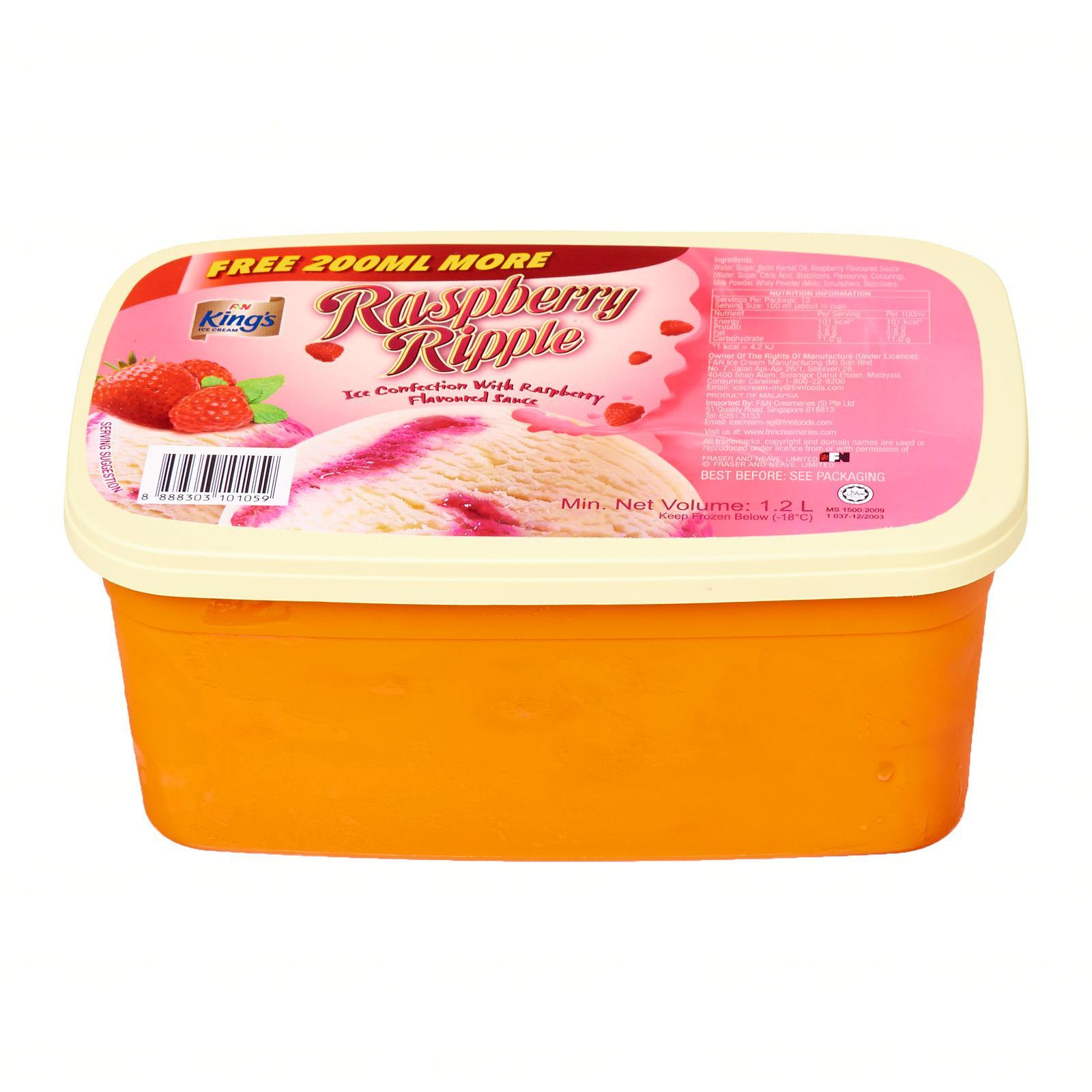 King's Raspberry Ripple Ice Cream with Raspberry Flavoured Sauce