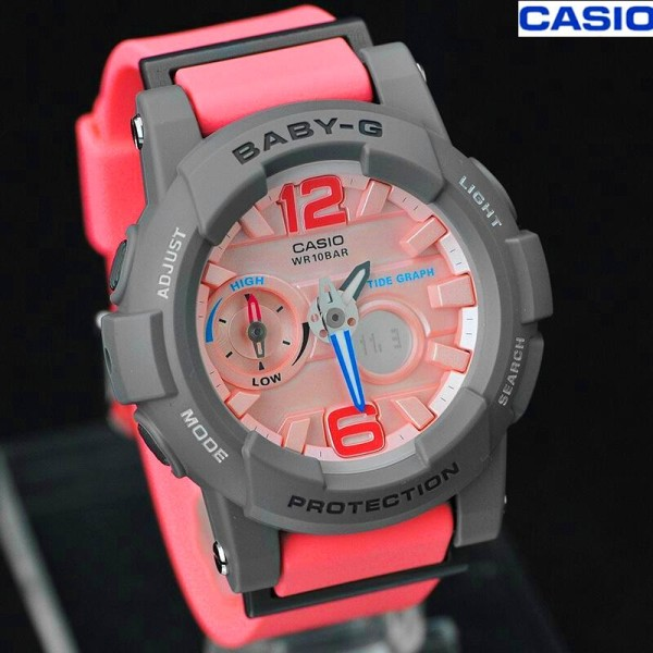 Original BABY G BGA180 Women Sport Watch Dual Time Display 100M Water Resistant Shockproof and Waterproof World Time LED Light Girl Sports Wrist Watches with 2 Year Warranty BGA-180-4B2PR Pink Grey (Free shipping) Malaysia