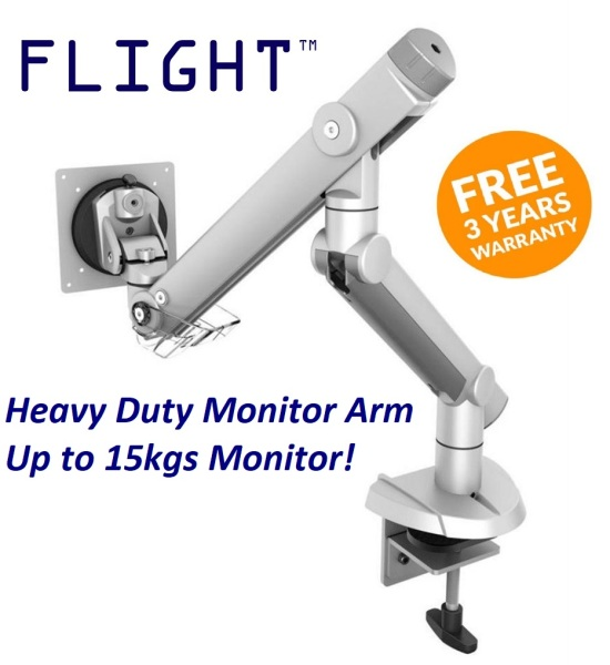 Flight™ Single Dynafly LCD Monitor Arm, Grommet or Clamp, Monitor Weight 2.5-15kg, Single Monitor Support, 360 Degree Monitor Rotation, International Vesa Compatibility, Heavy Duty Gaming Monitor Arm, Heavy Duty LCD Arm, Monitor Stand