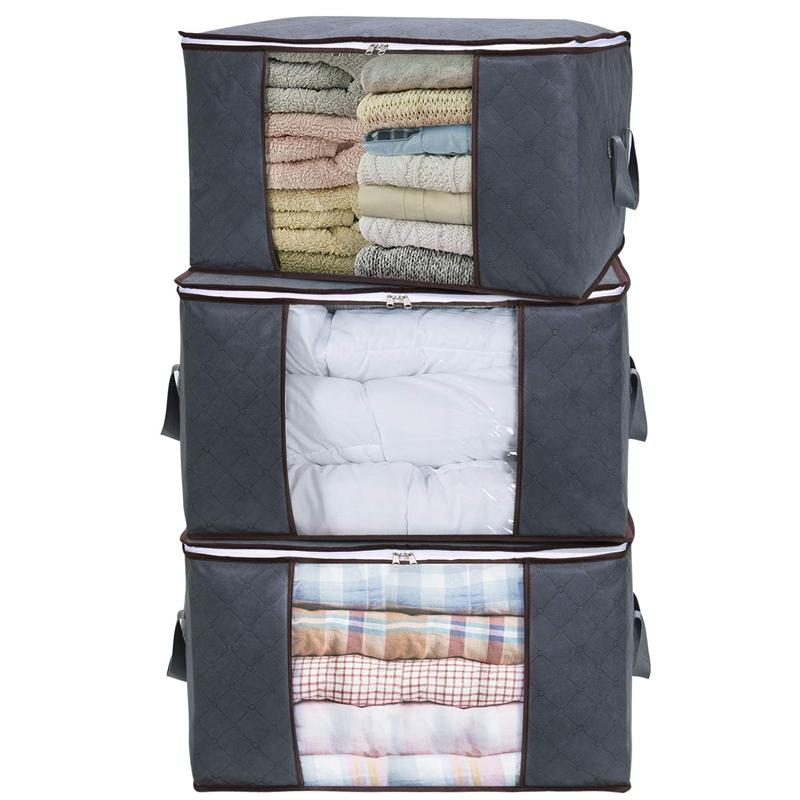 Large Capacity Clothes Storage Bag Organizer with Reinforced Handle Thick Fabric for Comforters,Blankets,Bedding,Foldable with Sturdy Zipper,Clear Window,3 Pack,Grey