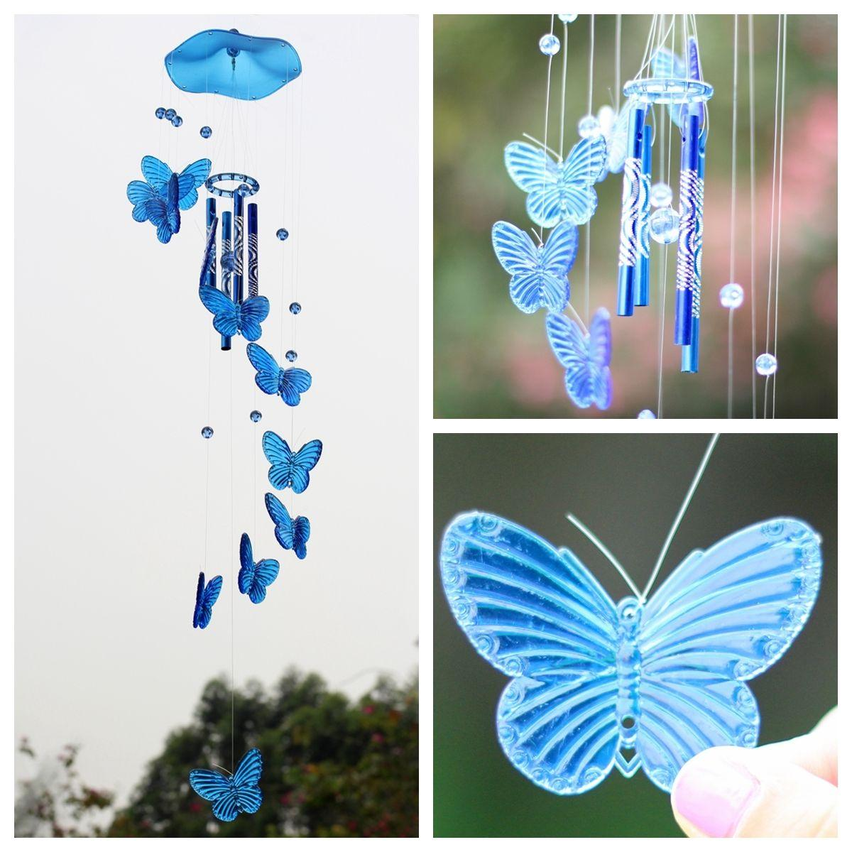 Creative Crystal Butterfly Wind Chime Bell Ornament Living Hanging Decor Art