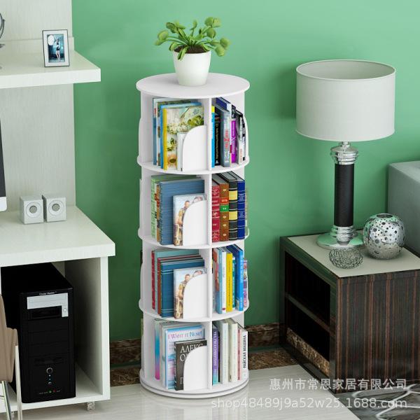 (Local seller) 6 Tiers Creative Rotating Bookshelf 360 Degree Bookcase Simple Shelf Children Storage Bookshelf Simple Student Floor Bookshelf