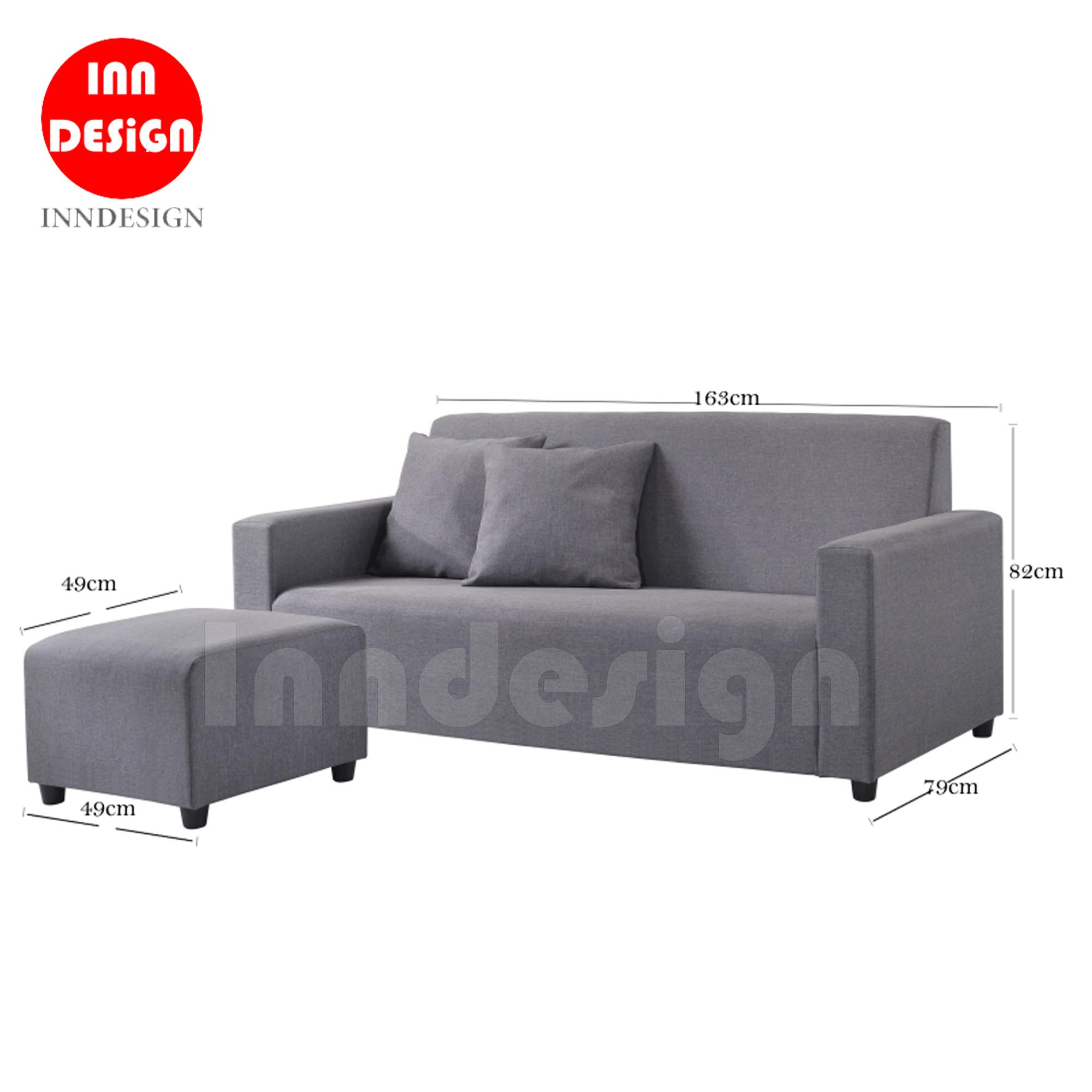 Annica L Shape 3 Seaters Fabric Sofa with Stool (Grey)