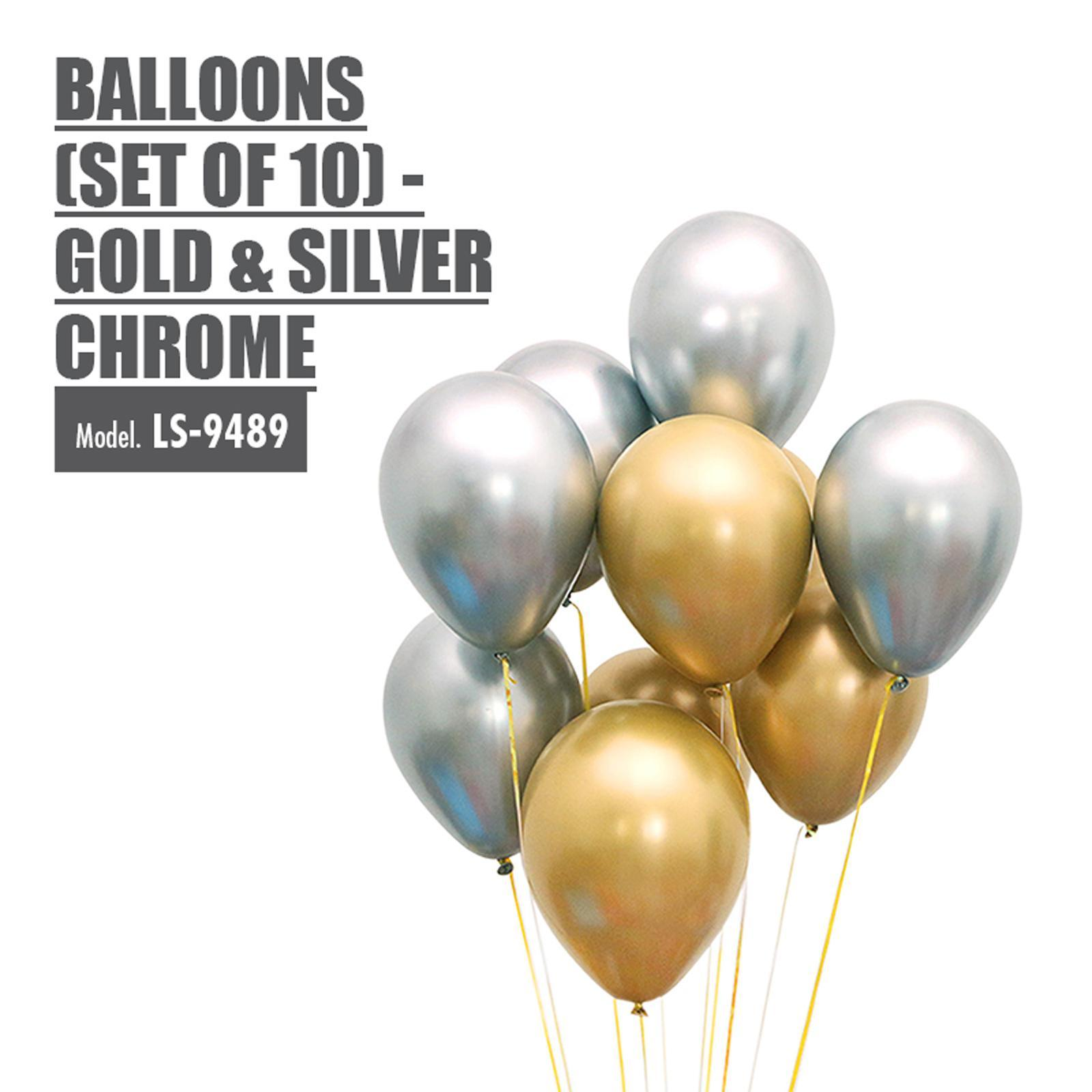 HOUZE Balloons (Set Of 10) - Gold And Silver Chrome
