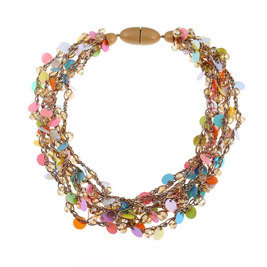 74d4f052ef720 DiLiCa Fashion Choker Necklace Women Bohemian Sequins Maxi Necklace Layered  Crystal Beaded Statement Necklaces Collier