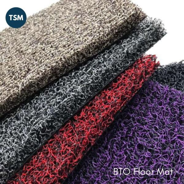 TSM BTO HDB PVC Web Coil Floor Mat Door Gap Entryway 120cm by 25cm 15mm Thickness Prevent Dust Pest Duo Color Black Grey Purple Red