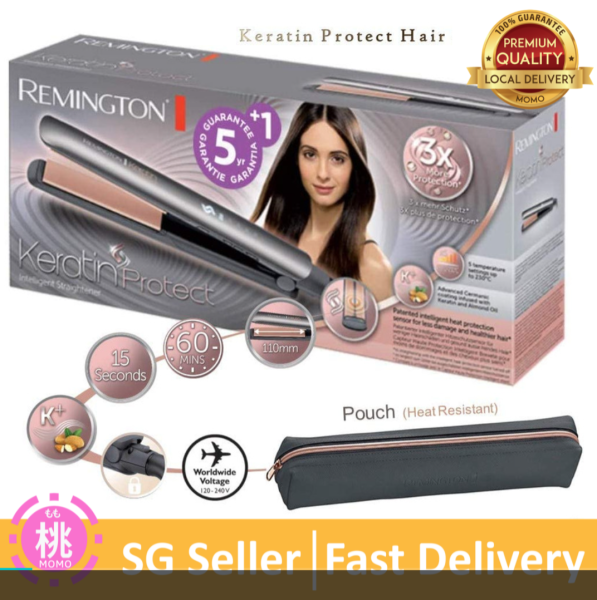Buy Remington Keratin Protect Intelligent Ceramic Hair Straightener, Infused with Keratin and Almond Oil, S8598 Singapore