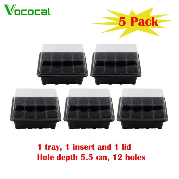 Vococal 5 Pack Professional 12 Hole Seed Tray Cavity Insert Seedling Starter Trays With Lid(in Stock) - Intl By Vococal Shop.