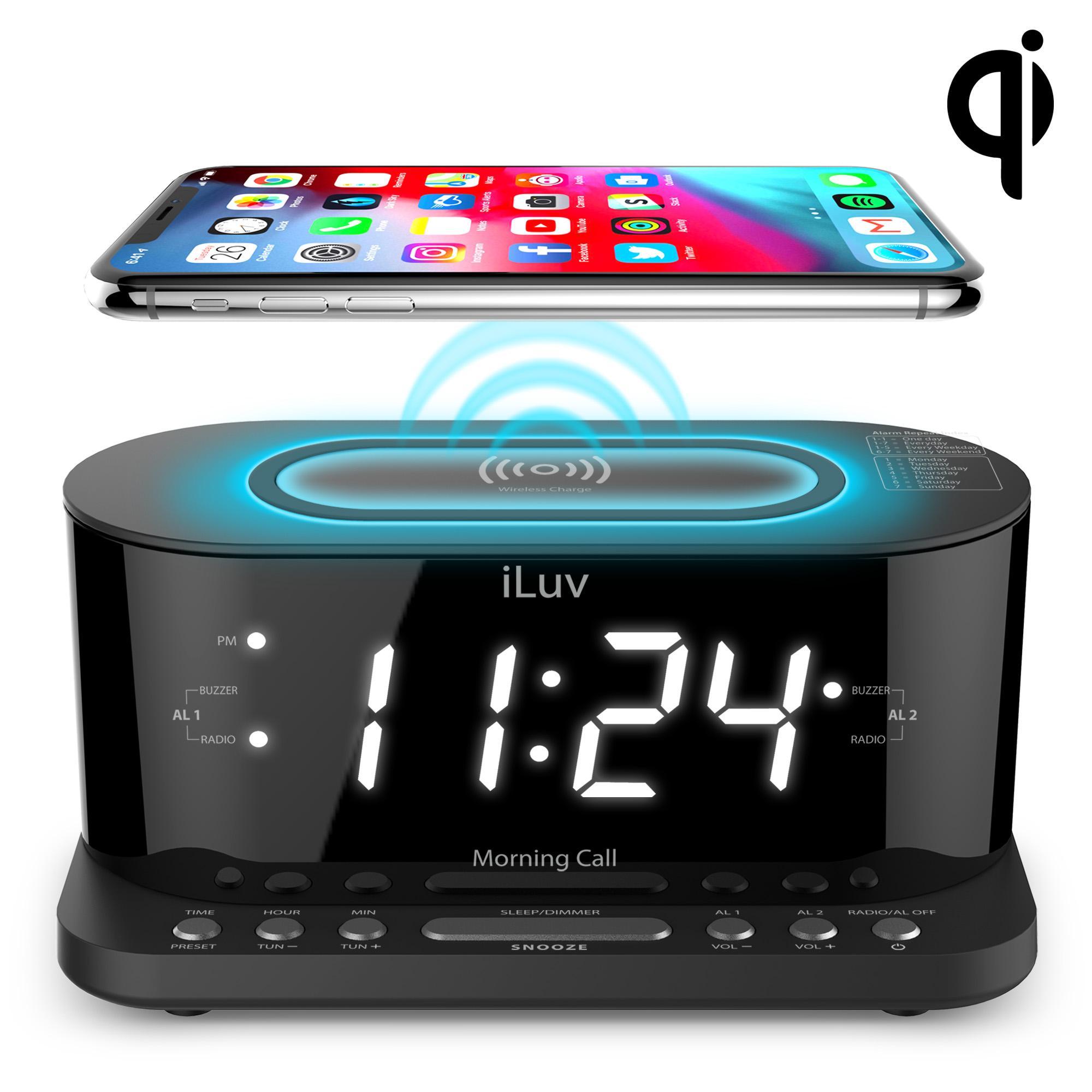 iLuv Morning Call 5Q FM Radio Alarm Clock with Qi Charging