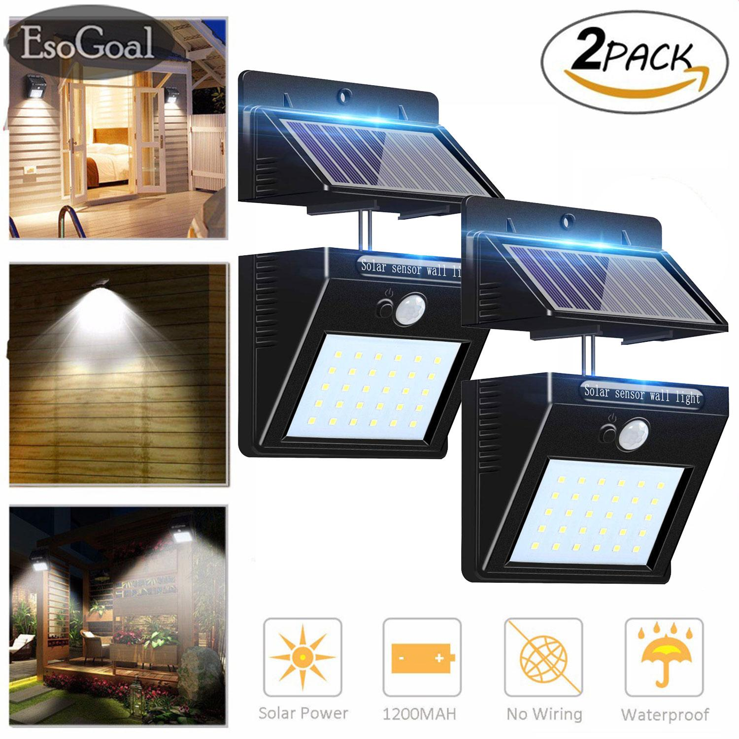 EsoGoal Outdoor Lighting Sensor Solar Wall light 30 LED Solar Lights with Separable Solar Panel Waterproof Solar Powered Motion Sensor Light Wireless Security Lights Outside Wall Lamp for Driveway Patio Garden Path (2 Pack)