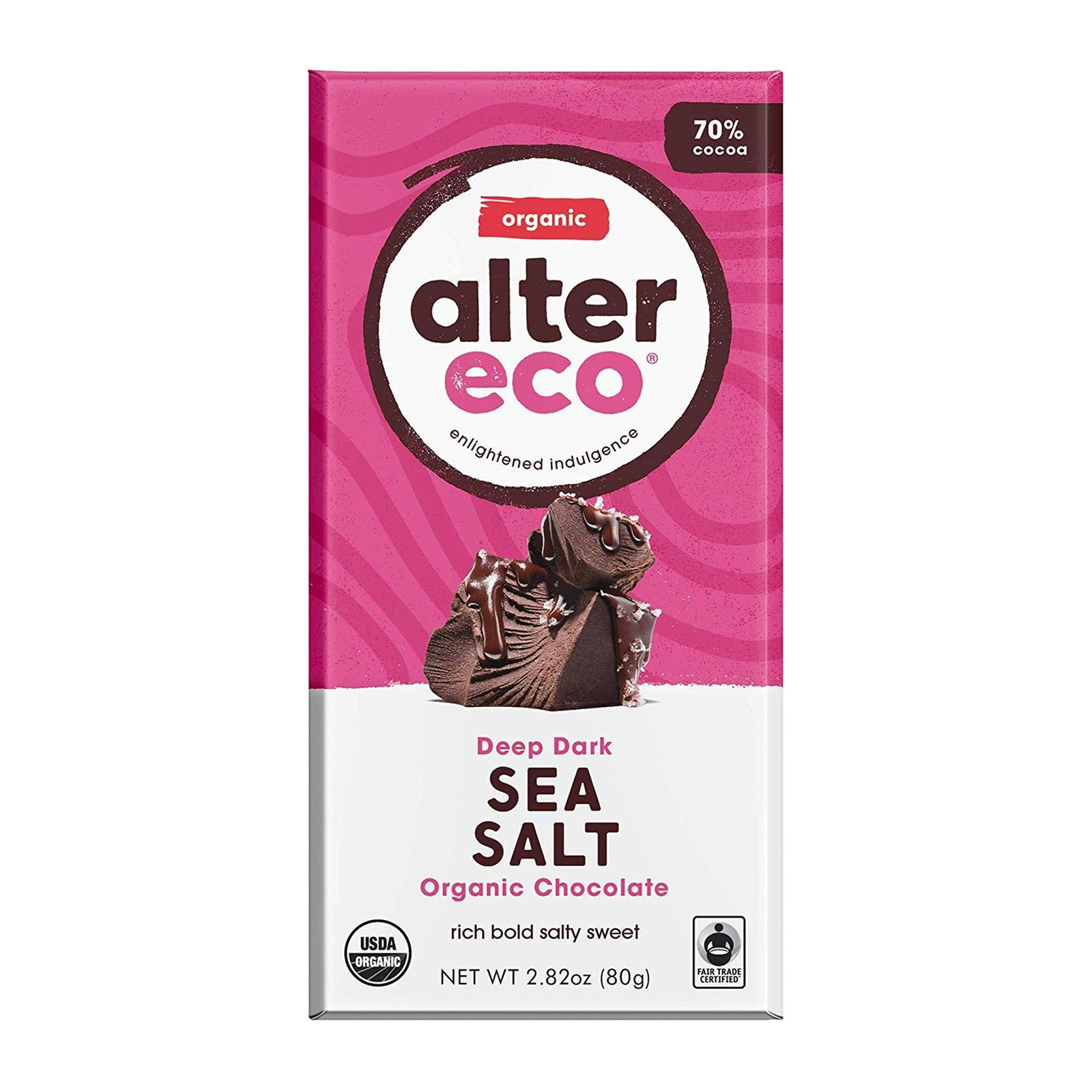 Alter Eco Organic Deep Dark Chocolate Sea Salt - By Wholesome Harvest