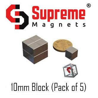 N50 Super Strong Powerful Neodymium Magnets Singapore 10mm block (pack of 5)  LTS-SM-NB101010 Supreme Magnets