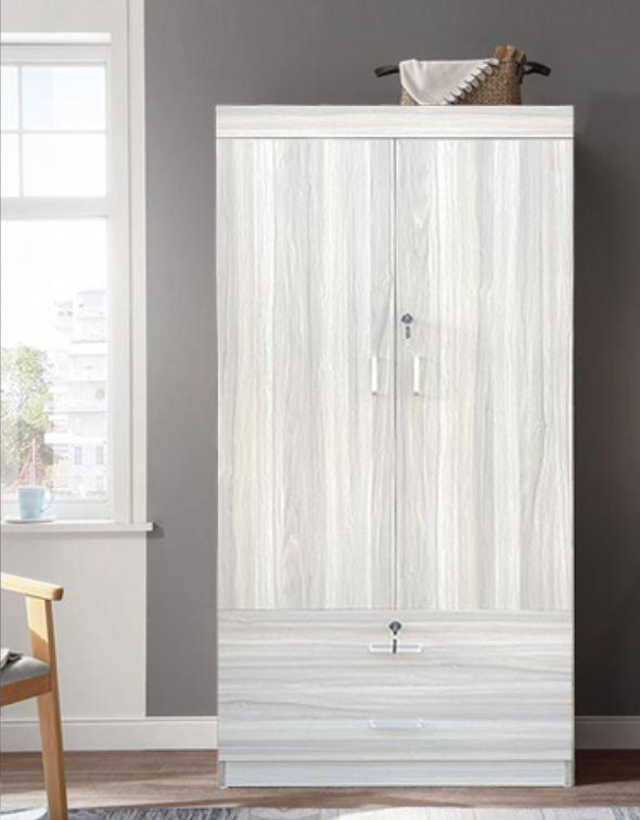 2 DOORS Wardrobe W/ Soft Closing Doors (Black / Grey) (Free Delivery and Installation