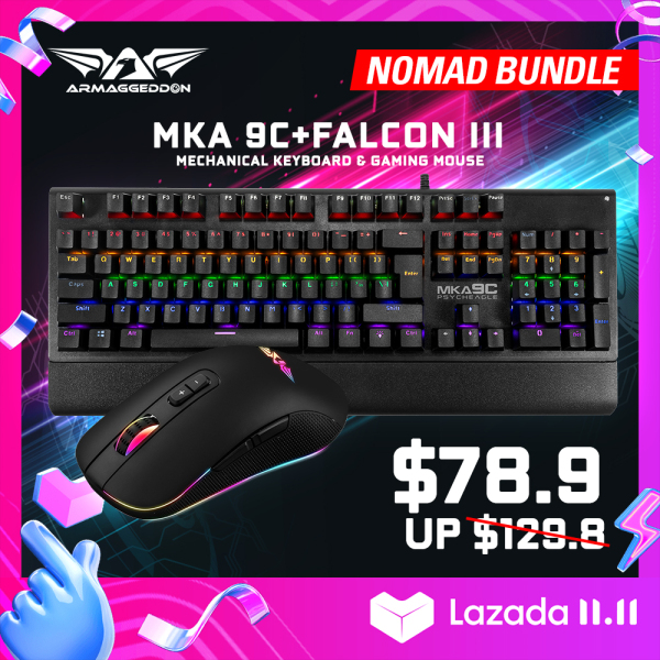 Nomad Bundle - Mechanical Gaming Keyboard and Gaming Mouse Combo MKA-9C + Falcon III [Armaggeddon 10th Anniversary X Lazada 11.11 Exclusive] Singapore