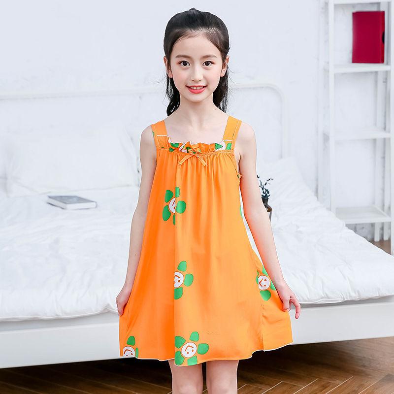 Nơi bán Bông Váy Ngủ Bé Gái Công Chúa Cotton Lụa Trẻ Em Sling Ngắn Tay Dáng Đồ Ngủ Bé Mỏng