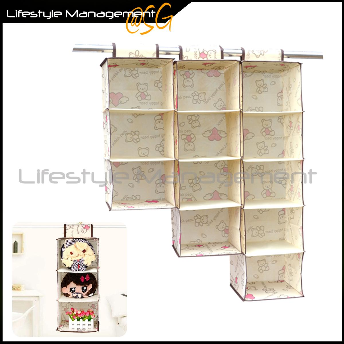 Wardrobe/Cupboard/Closet/Hanger Storage Fabric Organizer - Hanging Organise Bags (4 Layer 80cm)