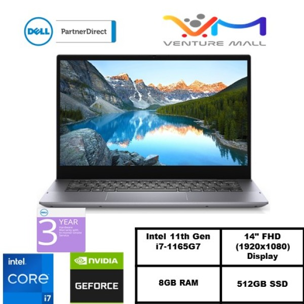 Inspiron 14 5406-Intel® Core™i7-1165G7/Win 10 home/NVIDIA® GeForce® MX330/8GB RAM/512GB SSD/2Yrs warranty