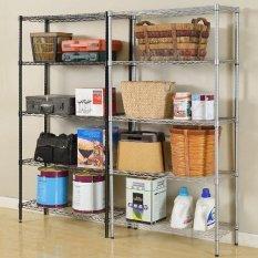 5Tier Steel Rack Wire Mesh Storage Shelf Black Color - OS63