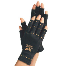 1 Pair Men Women Black Copper Hands Arthritis Gloves Therapeutic Compression - Intl By Kuhong.