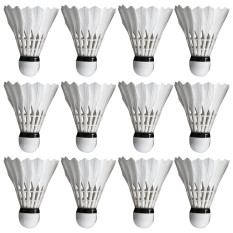 12 Pcs White Foam Base Feather Badminton Shuttlecock Game Training Badminton Ball By Vococal Shop.