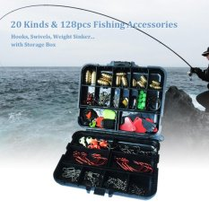 Retail 128Pcs Fishing Accessories Hooks Swivels Weight Fishing Sinker Stoppers Connectors Sequins Lures Fishing Tackle Box Intl