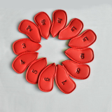 12Pcs Leather Golf Headcovers Head Cover Iron Protect Set Red Intl Shop